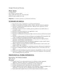 Electrician Resume Skills Resume Cover Letter Example