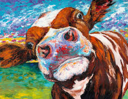 curious cow i painting print on wrapped canvas