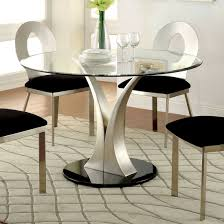 furniture of america valo round dining table in silver black