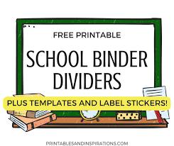 Free Printable Binder Templates Free Printable School Binder Dividers And Cute Label