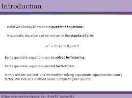 introduction what we already know about quadratic equations
