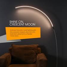 brightech sparq led arc floor lamp curved contemporary minimalist lighting design warm white light