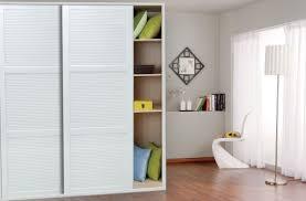3d rendering of white wardrobe with sliding doors