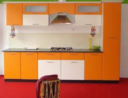 Orange And White Kitchen Kitchen Designed With Modern Orange White Modular Furniture And