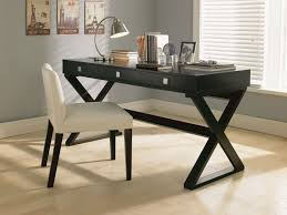 Fabulous office furniture small spaces Ruth Rectangle Black Wooden Table With Triple Drawers And Crossed Black Wooden Legs Plus White Leather Chair Ajara Decor Marvelous Modern Desks For Small Spaces With Terrific Design Ajara