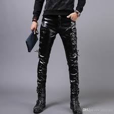 male leather pants men s winter black with velvet leather trousers prom rock costumes fashion tide slim pants show stage for singer r