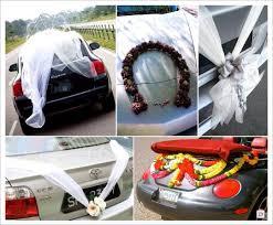 decoration voiture mariage arriere tulle position fle