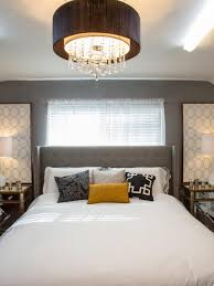 midcentury modern bedroom with circular drum ceiling light
