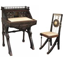 carlo bugatti walnut writing desk with chair for