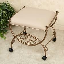 bathroom vanity chair or stool. square metal upholstered backless bathroom vanity chair on wheels or stool b