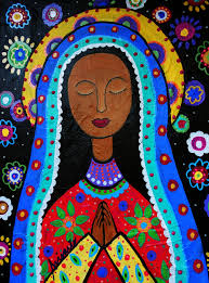 folk art mexican folk art our lady of virgin guadalupe painting print whimsical