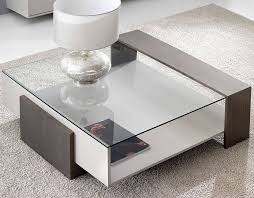 coffee table contemporary glass with storage compartment
