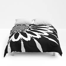 modern flower black white comforters