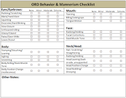 Behavior Change Chart Chart The Ord Behavior Mannerism Checklist Download
