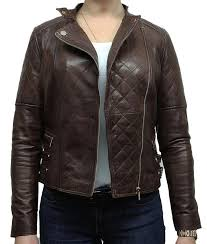 womens dark brown classic motorcycle leather jacket