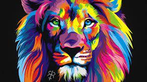 Rainbow Background Rainbow Galaxy Lion ...