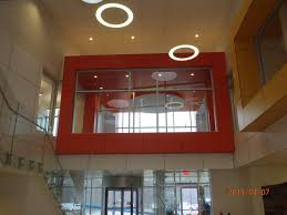 colored trespa panels in lobby
