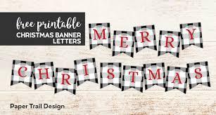 Plaid Christmas Banner Letters Printable Paper Trail Design
