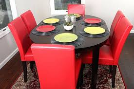 oval dinette set with 6 red leather chairs dining room 7 piece