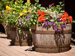 ... Large Flower Planters For Outside Like Bucket Flowers With Purple  Yellow And Red Flowers ...