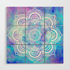 mandala pink lavender aqua galaxy space wood wall art