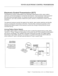 Ect Voltage Chart Electronic Control Transmission Ect
