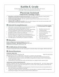 Physician Assistant Sample Resume Physician Assistant Student Resume Joefitnessstore Com