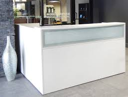 Contemporary office reception Cash Counter Modern Office Lshaped White Reception Desk Wfrosted Glass Panel