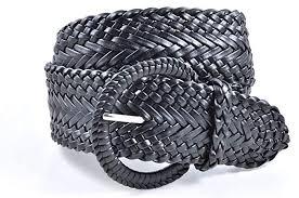 Women's <b>Fashion</b> Web <b>Woven</b> Braid Faux Leather Metallic Wide <b>Belt</b>