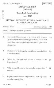 business ethics corporate governance csr management  business ethics corporate governance csr 2013 management executive mba university exam indira gandhi national open university ignou