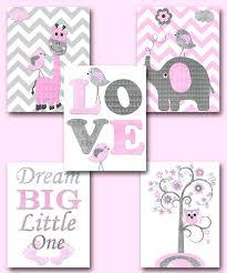 baby nursery wall art canvas wall decor baby girl nursery pink grey giraffe  elephant decor baby . baby nursery wall art ...
