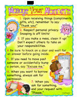 Good Manners Chart For Class 1 Values And Manners Theme Unit