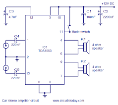 car stereo amplifier circuit diagram and schematics using tda ic car stereo amplifier circuit
