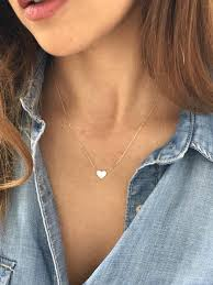 simple solid gold necklace 14k gold tiny heart necklace small dainty heart necklace