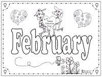 Small Picture Months of the Year Coloring Page February Kiddie Art
