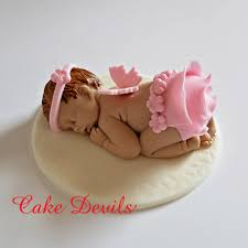 Baby Girl Baby Shower Decorations Fondant Sleeping Baby Shower Cake