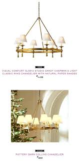 paper chandelier shades visual comfort studio sandy 6 light classic ring with natural white globe lamp