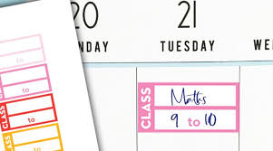 Free Printable Class Schedule Functional Planner Stickers