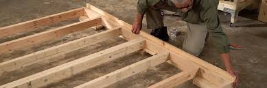 prop the frame assembly up 1 ½ inches from the ground you can use s pieces of lumber or 2 x 4 inch and 1 x 4 inch boards