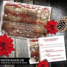 rustic winter wedding invitation set country winter invitation red snowflakes wedding invitation mason jar invite diy wedding printable