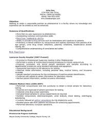 Phlebotomist Resume Sample Legalsocialmobilitypartnership Com