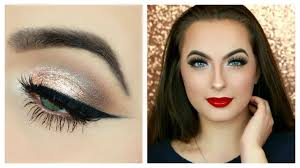 100 clic holiday makeup tutorial chagne neutral eyes red lips you