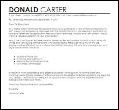 Veterinary Receptionist Cover Letter Sample