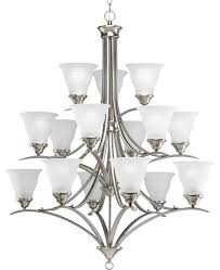progress lighting p4365 09 trinity 15 light chandelier in brushed nickel