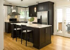 white kitchen dark wood floor. The Bright, Simple Kitchen Is Weighted By Use Of Dark Cabinets. Tile White Wood Floor