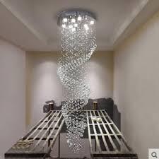 zx k9 crystal long chandelier suspension wave living room crystal pendant lamp modern led gu10 spiral