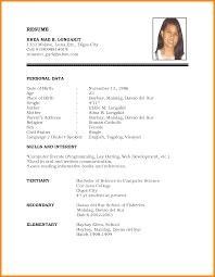Model Of Resume For Job Job Resume Resumes Template Pdf Format For Freshers Teacher Skills 18