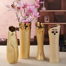 european fashion modern ceramic vases desk accessories crafts flower pot porcelain golden vase