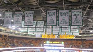 celtics banners hanging above the court at td garden