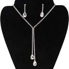Elegant Hosaire Women Necklace Crystal Water Pendant Necklace Earrings Long Chain Costume  Jewellery Necklace For Women Girl